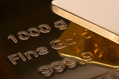 Ingot of bank gold. Royalty Free Stock Photo