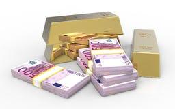 Ingot and euros Royalty Free Stock Photo