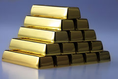 Ingots of gold combined Stock Images