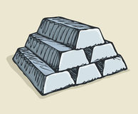 Ingots of gold. Vector drawing Stock Photos