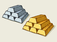 Ingots of gold. Vector drawing Royalty Free Stock Images