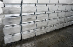 Ingots of silvery metal royalty free stock photography