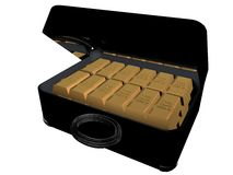 Ingots in suitcase Stock Photo