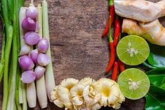 Ingrédient central de l'espace de menu de tomyumkung Cuisine thaïlandaise, nourriture thaïlandaise célèbre Photographie stock