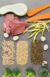 Ingrédients crus naturels pour l'aliment pour animaux familiers sur le fond gris Photos stock