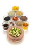 Ingrédients crus pour les conserves au vinaigre indiennes de mangue Images libres de droits