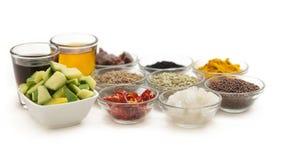 Ingrédients crus pour les conserves au vinaigre indiennes de mangue Photos libres de droits