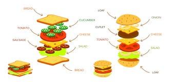 Ingrédients d'hamburger avec le concombre de petit pain de salade de tomate de fromage de viande infographic Photos libres de droits