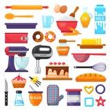 Ingrédients de boulangerie de vaisselle de cuisine et de nourriture de vecteur de cuisson pour l'illustration de gâteau durcissan illustration de vecteur
