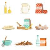 Ingrédients de cuisson et collection d'outils et d'ustensiles de cuisine d'illustrations réalistes de vecteur de bande dessinée a Image libre de droits