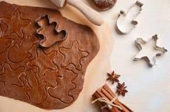 Ingrédients de cuisson pour des biscuits de Noël Photo libre de droits