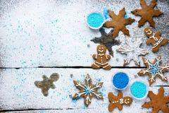 Ingrédients de cuisson pour les biscuits et le pain d'épice de Noël Photos libres de droits