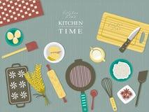 Ingrédients de cuisson sur la table de cuisine dans la conception plate Photos libres de droits