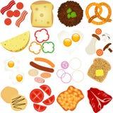 Ingrédients de déjeuner et de déjeuner illustration libre de droits