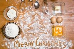Ingrédients de gâteau sur la table Images libres de droits