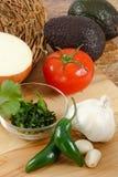 Ingrédients de guacamole Photos stock