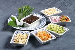 Ingrédients de nourriture thaïs coupés Image libre de droits