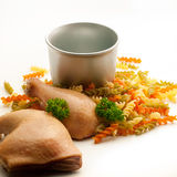 Ingrédients de pâtes de poulet Images libres de droits