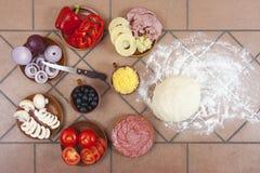 Ingrédients de pizza Images libres de droits