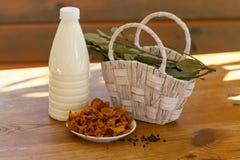 Ingrédients de soupe à lait de champignon photographie stock