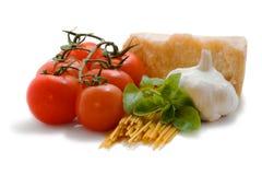 Ingrédients frais de spaghetti Image libre de droits