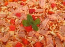 Ingrédients fromage, jambon, entrain de pizza de cloche photographie stock libre de droits