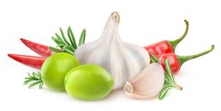 Ingrédients infusés d'isolement d'huile d'olive Image stock