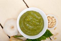 Ingrédients italiens de sauce à pesto de basilic Photos stock