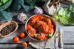 Ingrédients pour des boulettes de viande en sauce tomate Photos stock