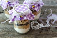 Ingrédients pour des gâteaux aux pépites de chocolat dans un pot Photographie stock libre de droits