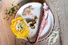 Ingrédients pour des pâtes, fruits de mer Images stock