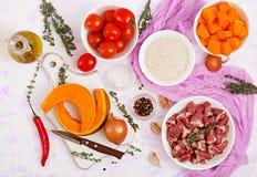 Ingrédients pour faire cuire des coeurs de poulet avec le potiron et les tomates en sauce tomate Image libre de droits