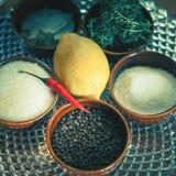 Ingrédients pour faire cuire la truite, poisson de rivière, avec le citron et les épices Image stock