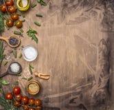 Ingrédients pour faire cuire les tomates-cerises végétariennes de nourriture, zizanie, épices, frontière de sel, texte d'endroit  Photos stock