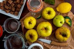 Ingrédients pour faire le jaune de confiture et de compote de pommes, reinetas photos libres de droits