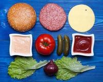 Ingrédients pour l'hamburger Photographie stock libre de droits