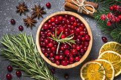 Ingrédients pour la boisson ou le principal de cuisson vi de nourriture de Noël de fond image stock