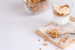 Ingrédients pour la granola faite maison de farine d'avoine dans le pot en verre Flocons, miel, raisins secs et écrous d'avoine c Images libres de droits