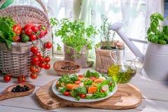 Ingrédients pour la salade avec des saumons et des légumes Images stock