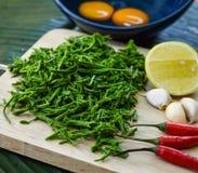 Ingrédients pour la sauce chili, menu épicé de nourriture thaïlandaise Image libre de droits