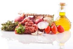 Ingrédients pour la sauce tomate italienne Photographie stock
