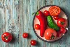 Ingrédients pour le gazpacho de potage aux légumes d'un plat et d'un vieux conseil Photo stock
