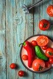 Ingrédients pour le gazpacho de potage aux légumes, un plat et un mélangeur o Images libres de droits
