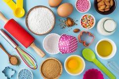 Ingrédients pour le petit gâteau de cuisson Photos libres de droits