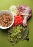 Ingrédients pour le potage de poulet Photographie stock libre de droits