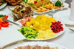 Ingrédients pour le preparationin de salade un plat au ` s de restaurant photographie stock