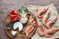 Ingrédients pour le régime méditerranéen Photo stock