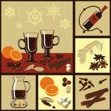 Ingrédients pour le vin chauffé illustration de vecteur