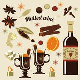 Ingrédients pour le vin chauffé illustration stock