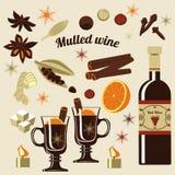 Ingrédients pour le vin chauffé illustration libre de droits
